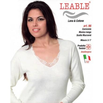 LEABLE 3 CANOTTE DONNA TAGLIE FORTI LANA E COTONE MANICA LUNGA 96