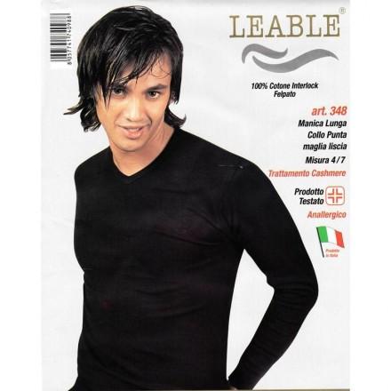 LEABLE 3 T-SHIRT UOMO TAGLIE FORTI COTONE INTERLOCK SCOLLO A V 348