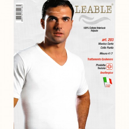 LEABLE 3 T-SHIRT UOMO COTONE INTERLOCK SCOLLO V 203