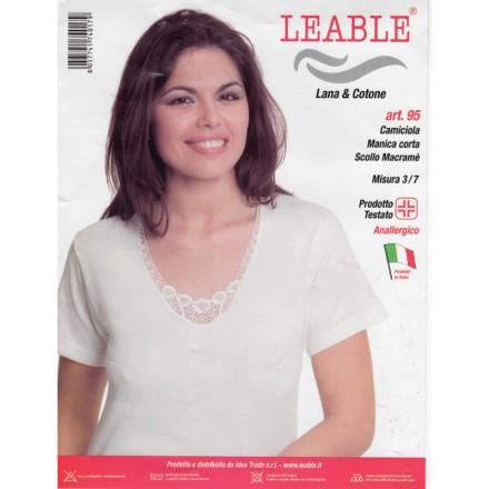 LEABLE 3 CANOTTIERE DONNA LANA E COTONE MEZZA MANICA 95