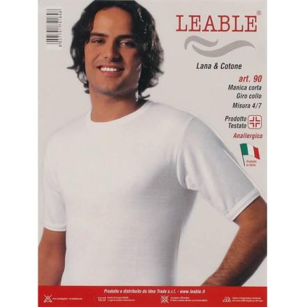 LEABLE 3 -SHIRT UOMO TAGLIE FORTI LANA E COTONE MEZZA MANICA 90