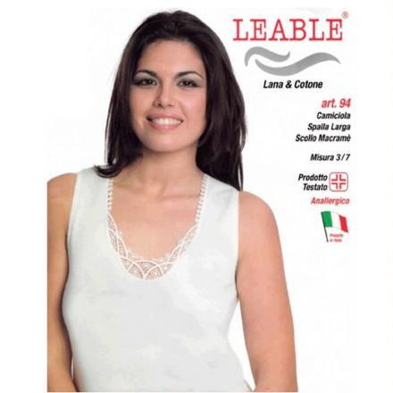 LEABLE 3 CANOTTIERA DONNA TAGLIE FORTI LANA E COTONE SPALLA LARGA 94