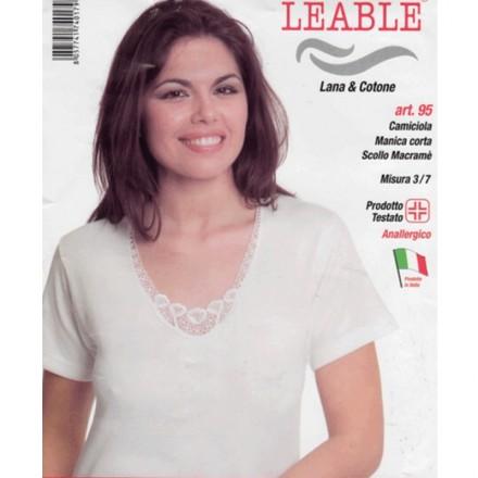 LEABLE 3 CANOTTIERA DONNA TAGLIE FORTI LANA E COTONE 95