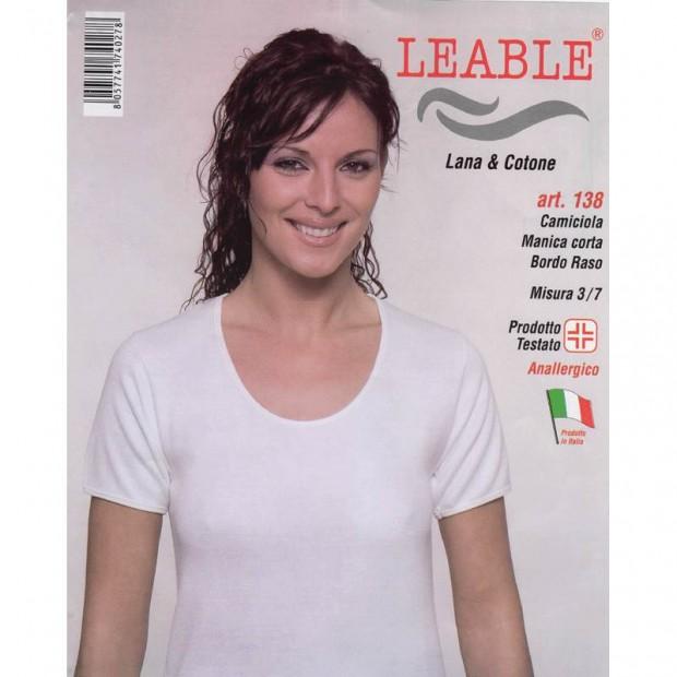 LEABLE 3 CANOTTA DONNA LANA E COTONE MANICA CORTA 138
