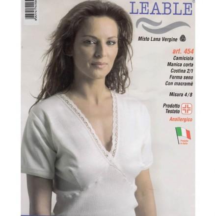LEABLE 3 CANOTTA DONNA MISTO LANA MANICA CORTA 454