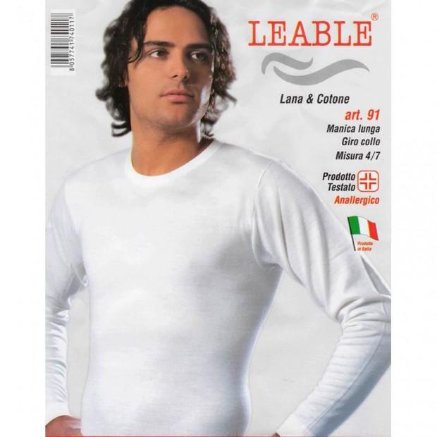 LEABLE 3 MAGLIA UOMO LANA/COTONE MANICA LUNGA 91