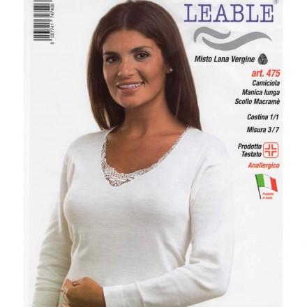 LEABLE 3 CANOTTA DONNA MISTO LANA MANICA LUNGA 475