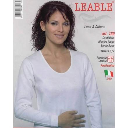 LEABLE 3 MAGLIA DONNA LANA E COTONE MANICA LUNGA 139