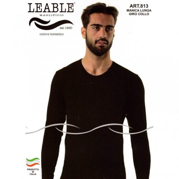 LEABLE T-SHIRT UOMO COTONE ELASTICIZZATO MANICA LUNGA 813