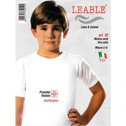 LEABLE 3 MAGLIA BIMBO LANA E COTONE MANICA CORTA 92
