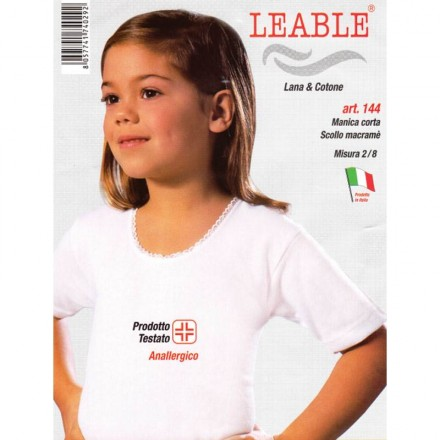 LEABLE 3 MAGLIA BIMBA LANA E COTONE MANICA CORTA 144