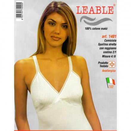 LEABLE 6 CANOTTA DONNA TAGLIE FORTI COTONE SPALLINA STRETTA 1401